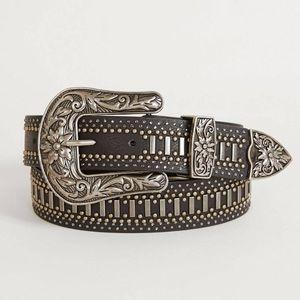 New BKE Black Rhinestone Glitz Leather Belt